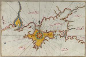 Die Krim auf einer Karte von Piri Reis, 1520.